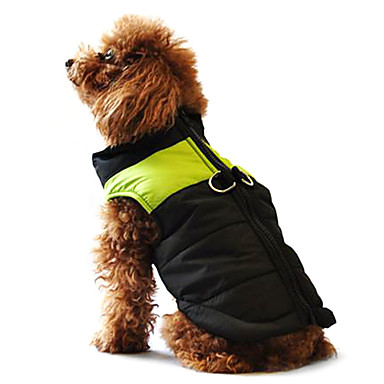 cheap Dog Clothing & Accessories-Dog Coat Vest Puffer / Down Jacket Dog Clothes Color Block Black / Pink Black / Green Black / Blue Cotton Costume For Husky Labrador Alaskan Malamute Spring &  Fall Winter Men's Women's Casual / Warm