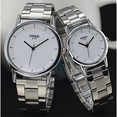 Masculino Mulheres Casal Relógio de Moda Quartzo Lega Banda Prata Dourada Branco Preto