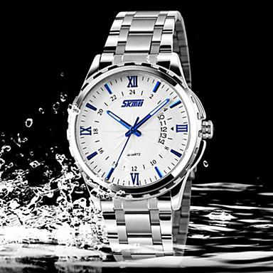 Homens Relógio Elegante Quartzo Aço Inoxidável Banda Prata