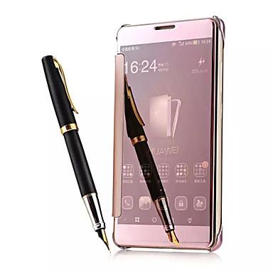 resposta luxo telefone inteligente janela de visão clara espelho acordar do sono da tampa do caso da aleta inteligente para Huawei mate7