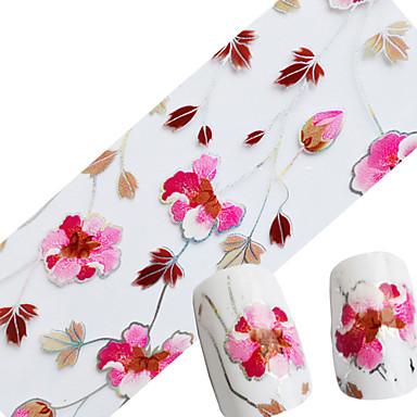 1pcs 물 이동 스티커 반짝이는 & Poudre 포일 박리 테이프 꽃 패션 일상 고품질