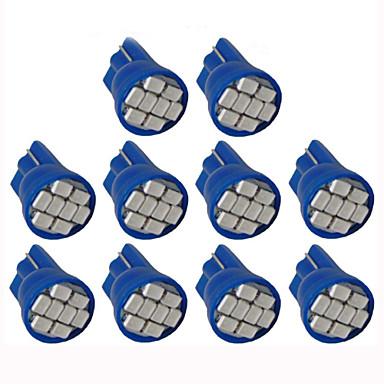 Lorcoo 10pcs led lumina auto masina t10 3528 4-smd 194 168 (albastru)