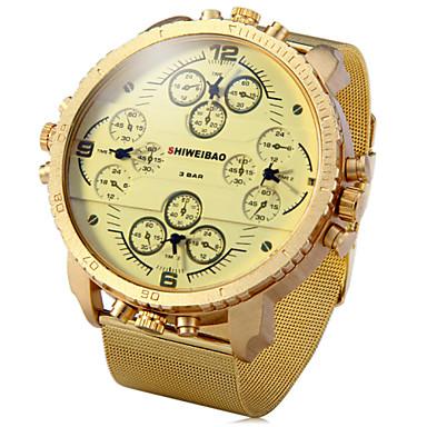 Homens Relógio de Pulso Quartzo Três Fusos Horários Dois Fusos Horários Aço Inoxidável Banda Preta Dourada
