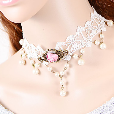 cheap Necklaces-Women's Choker Necklace Torque Gothic Jewelry Ladies Gothic Lace Fabric White Necklace Jewelry For Wedding Party Daily Casual Masquerade Engagement Party