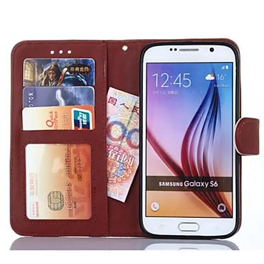 용 삼성 갤럭시 케이스 지갑 / 카드 홀더 / 스탠드 / 플립 케이스 풀 바디 케이스 단색 인조 가죽 Samsung S6 edge plus / S6 edge / S6 / S5