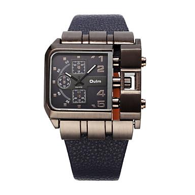זול שעוני גברים-Oulm בגדי ריקוד גברים שעונים צבאיים שעון יד קווארץ גדול עור שחור / כחול / אדום מגניב צג גדול אנלוגי חום אדום כחול שנתיים חיי סוללה / מתכת אל חלד / סוקסי SR626SW