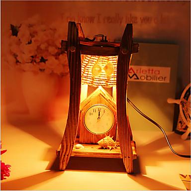 창조적 인 나무 아이에 시계 용기 장식 책상 램프 침실 램프 선물 피라미드
