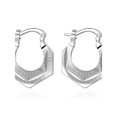 Mulheres Prata de Lei Prata Chapeada Prateado Brincos Curtos Brincos com Clipe - Europeu Prata Forma Geométrica Brincos Para Casamento