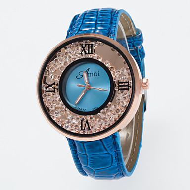 Dames Zwevende kristallen horloge Modieus horloge Kwarts imitatie Diamond PU Band Amulet Zwart Wit Blauw Rood Bruin roze