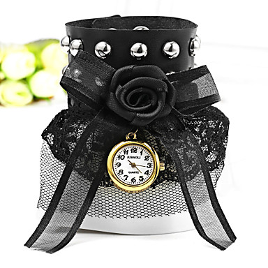 JUBAOLI 아가씨들 패션 시계 팔찌 시계 석영 섬유 밴드 블랙