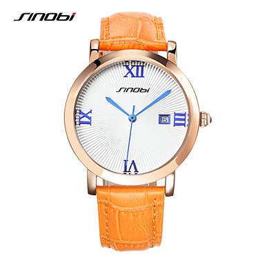 preiswerte Damen Uhren-SINOBI Damen Uhr Kleideruhr Quartz Leder Orange 30 m Wasserdicht Kalender Chronograph Analog damas Luxus Orange / Edelstahl