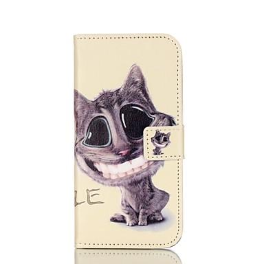 Para Samsung Galaxy Capinhas Porta-Cartão / Com Suporte / Flip / Magnética / Estampada Capinha Corpo Inteiro Capinha Gato Couro PU Samsung