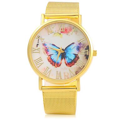 Bayanların Moda Saat Quartz Alaşım Bant Kelebek Altın Rengi Altın