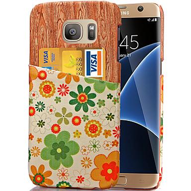 Voor Samsung Galaxy S7 Edge Kaarthouder hoesje Achterkantje hoesje Bloem PU-leer SamsungS7 edge / S7 / S6 edge plus / S6 edge / S6 / S5