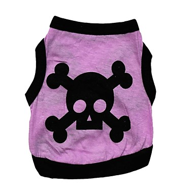 cheap Dog Clothing & Accessories-Cat Dog Shirt / T-Shirt Dog Clothes Skull Purple Coffee Green Cotton Costume For Spring &  Fall Summer Men's Women's Casual / Daily Halloween