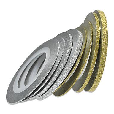 1PCS 1mm 20m의 네일 아트 골드 / 실버 반짝이 스트라이프 테이프 네일 아트 장식 도구 nc275
