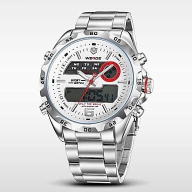 WEIDE Heren Digitaal horloge Polshorloge Kwarts Digitaal Japanse quartz Alarm Kalender Chronograaf Waterbestendig Dubbele tijdzones LCD