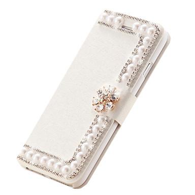 flor de diamante de couro de seda tampa articulada slots de cartão handmade magnética pérola ficar casos para iphone6 4.7