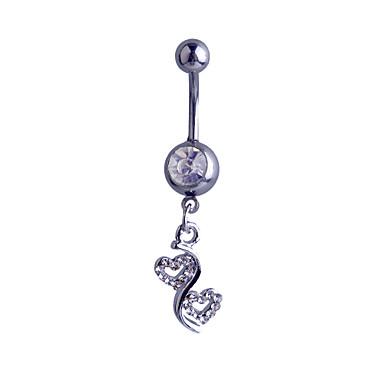 Szív Ezüst / Hamis gyémánt Navel Ring / Belly Piercing - Női Ezüst Luxus / Szerelem Testékszer Kompatibilitás Parti / Napi / Hétköznapi