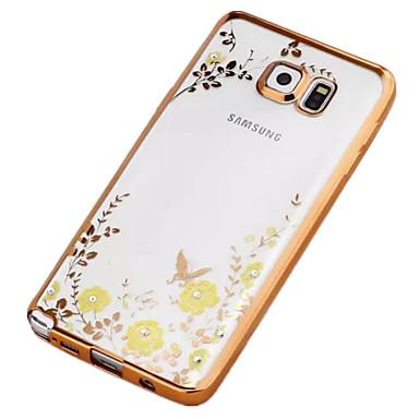 Mert Samsung Galaxy Note Strassz / Galvanizálás / Átlátszó / Minta Case Hátlap Case Virág TPU Samsung Note 5 / Note 4 / Note 3