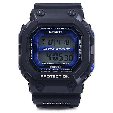 남성용 손목 시계 스포츠 시계 디지털 알람 달력 크로노그래프 방수 LED PU 밴드 블랙