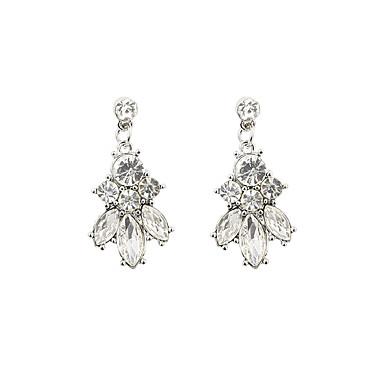 Mulheres Brincos Compridos - Strass, Imitações de Diamante Luxo Prata Para