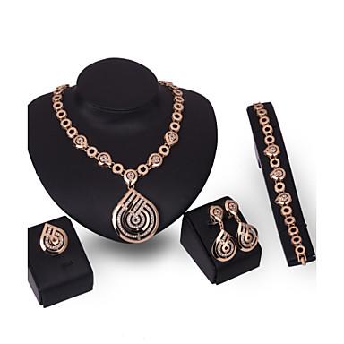 Γυναικεία Στρας Στρας Κοσμήματα Σετ Δακτυλίδια 1 Κολιέ 1 Ζευγάρι σκουλαρίκια 1 Βραχιόλι - Βίντατζ Σέξι Euramerican Μοντέρνα Άλλα Χρυσό