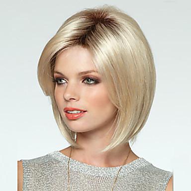 Vrouw Synthetische pruiken Zonder kap Recht Blond Bobkapsel Kostuumpruiken