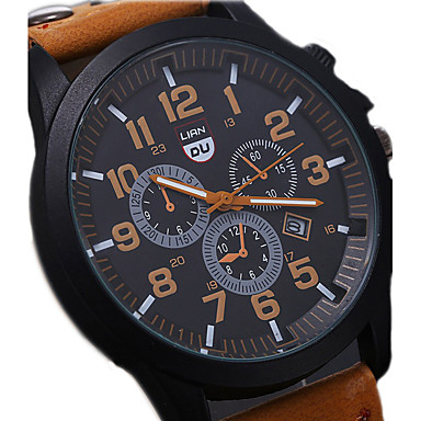Men's Wrist Watch Calendar / date / day / Water Resistant / Water Proof / Cool Leather Band Black / Brown / Green