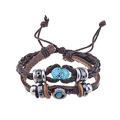voordelige Heren Armband-Heren Wikkelarmbanden Lederen armbanden geweven Uniek ontwerp Vintage Modieus Paracord Armband sieraden Koffie Voor Kerstcadeaus Feest Dagelijks Causaal