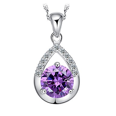 cheap Pendant Necklaces-Women's Pendant Necklace Round Cut faceter Cheap Ladies Birthstones Sterling Silver Silver Plated Silver White Purple Necklace Jewelry For Party Daily Casual Work