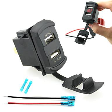 와이어 듀얼 USB 차량용 충전기 장치 주도 디지털 디스플레이 전압계를 iztoss 및 절연 열 커넥터 축소