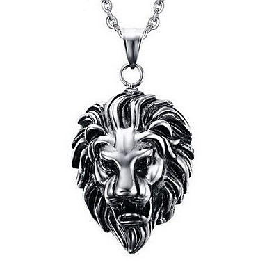 cheap Pendant-Men's Pendant Necklace Pendant Lion Animal Ladies Personalized Punk Titanium Steel Silver Necklace Jewelry For Party Daily Casual