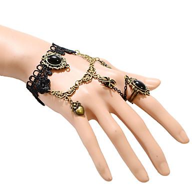 여성 반지 팔찌 유니크 디자인 패션 레이스 보석류 블랙 보석류 용 파티 일상 캐쥬얼 1PC