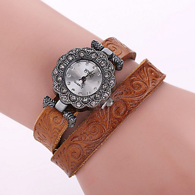 여성용 패션 시계 석영 캐쥬얼 시계 가죽 밴드 블랙 화이트 블루 레드 브라운 그린