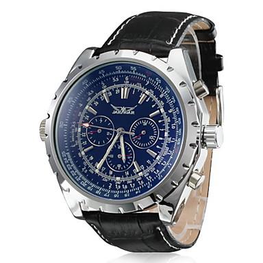 Χαμηλού Κόστους Ανδρικά ρολόγια-Ανδρικά Ρολόι Καρπού μηχανικό ρολόι Παρακολουθήστε την αεροπορία Αυτόματο κούρδισμα Δέρμα Μαύρο Ημερολόγιο Αναλογικό Πολυτέλεια Κλασσικό - Λευκό Σκούρο μπλε / Ανοξείδωτο Ατσάλι