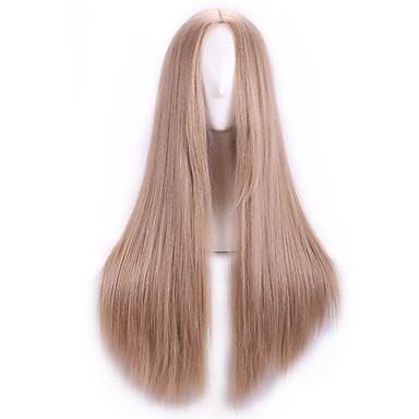 Συνθετικές Περούκες Ίσιο Πυκνότητα Χωρίς κάλυμμα Γυναικεία Καφέ Συνθετικά μαλλιά