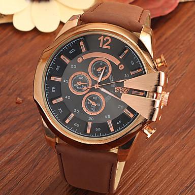 남성용 손목 시계 석영 캐쥬얼 시계 가죽 밴드 블랙 브라운