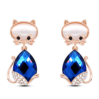 스터드 귀걸이 패션 귀여운 스타일 유럽의 보석 라인석 유리 합금 Animal Shape 고양이 화이트 퍼플 블루 보석류 용 파티 일상 캐쥬얼 1 쌍