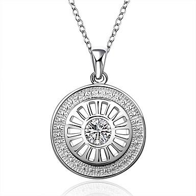 Női Bájos gyémánt Ezüst Cirkonium Rövid nyakláncok Nyaklánc medálok Nyilatkozat nyakláncok  -  Party Munkahelyi Alkalmi Circle Shape