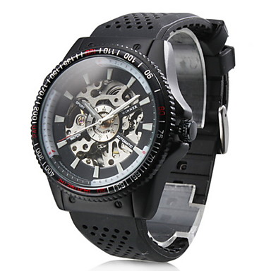 WINNER 남성 손목 시계 기계식 시계 오토메틱 셀프-윈딩 중공 판화 고무 밴드 블랙
