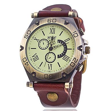 남성용 손목 시계 석영 캐쥬얼 시계 PU 밴드 블랙 화이트 블루 레드 오렌지 브라운 그린