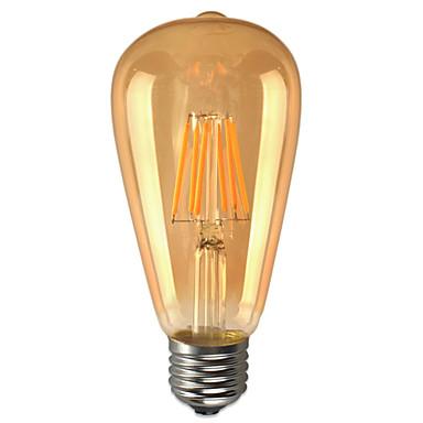 6W E26/E27 LED 글로브 전구 ST64 6 LED가 COB 방수 장식 따뜻한 화이트 600lm 2200K AC 85-265V