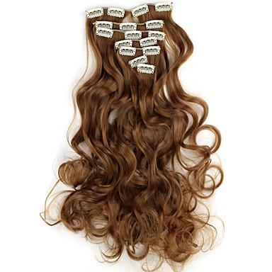 İnsan Saç Uzantıları Dalgalı / Klasik Gerçek Saç Postişleri Sentetik Saç Kadın's