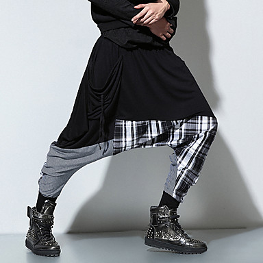 economico Abbigliamento uomo-Per uomo Stoffe orientali / Esagerato Sport Casual Fine settimana Largo Comodo / Pantaloni della tuta Pantaloni - Collage Cotone Nero Taglia unica
