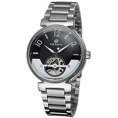 FORSINING Heren Skeleton horloge mechanische horloges Automatisch opwindmechanisme Hol Gegraveerd Roestvrij staal Band Zilver Zwart Blauw