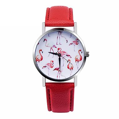 여성용 패션 시계 석영 캐쥬얼 시계 가죽 밴드 화이트 레드
