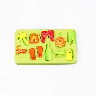 여름 해변에서 실리콘 초콜릿 몰드 퐁당 컵케익 장식 sugarcraft 도구 폴리머 클레이 색상 랜덤