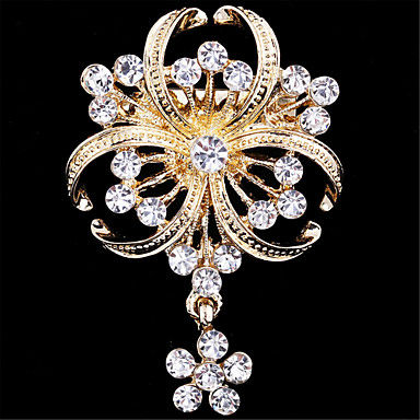 f257acfcd Women's Brooches Flower Ladies Luxury Fashion Imitation Diamond Brooch  Jewelry Golden For Wedding Party Special Occasion Birthday Gift Daily  #05079045