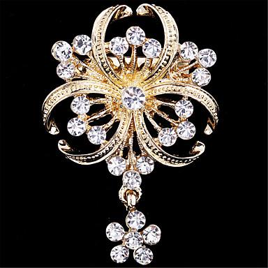 abordables Autres Bijoux-Femme Broche Fleur dames Luxe Mode Imitation Diamant Broche Bijoux Doré Pour Mariage Soirée Occasion spéciale Anniversaire Cadeau Quotidien